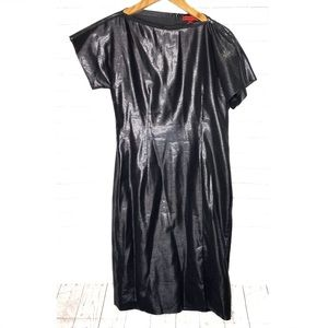 Vivienne Tam Black Silver Metallic Zipper Dress